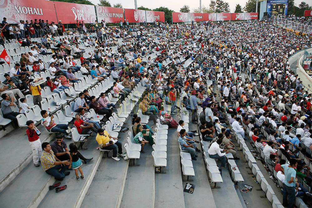 A general view of the crowd during match 9 of the Indian Premier League ( IPL ) Season 4 between the Kings XI Punjab and the Chennai Super Kings held at the PCA stadium in Mohali, Chandigarh, India on the 13th April 2011..Photo by Money Sharma/BCCI/SPORTZPICS