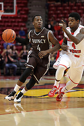 29 December 2014:  Thomas Jackson, Bobby Hunter during an NCAA non-conference interdivisional exhibition game between the Quincy University Hawks and the Illinois State University Redbirds at Redbird Arena in Normal Illinois.