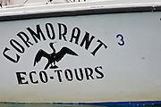 Cormorant eco-tours boat, crossing the Golfito Dulce, Osa Peninsula, southern Costa rica.