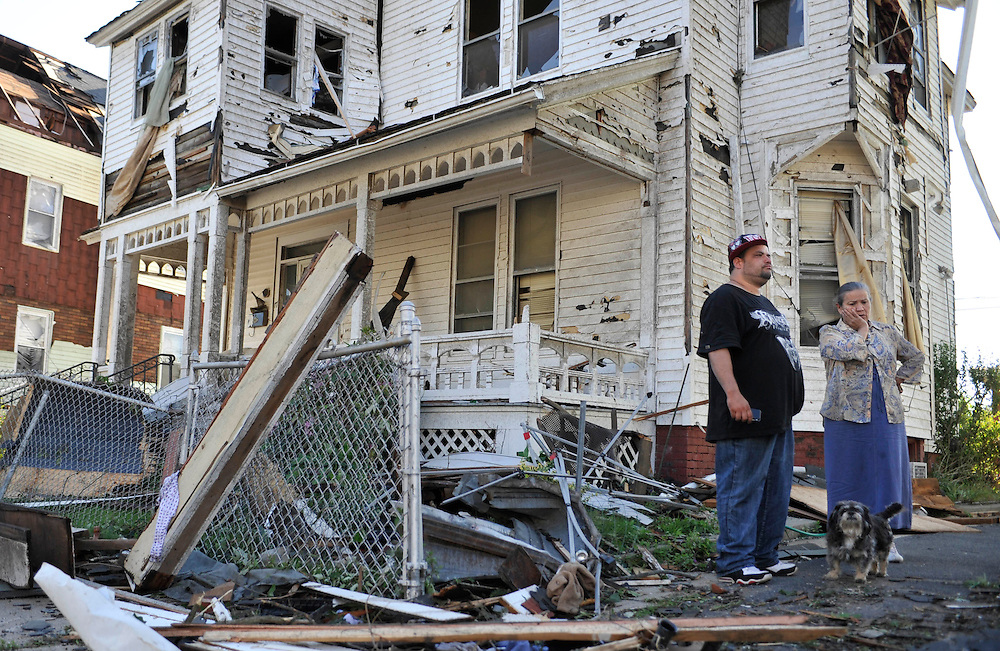 Storm damage is seen a day after a tornado in Springfield, Mass., Thursday, June 2, 2011.  (AP Photo/Jessica Hill)