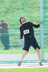 (Sherbrooke, Quebec---10 August 2008) Etienne Lanouette competing in the youth boys discus at the 2008 Canadian National Youth and Royal Canadian Legion Track and Field Championships in Sherbrooke, Quebec. The photograph is copyright Sean Burges/Mundo Sport Images, 2008. More information can be found at www.msievents.com.