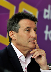 © Licensed to London News Pictures. 18/04/2012. Kew, UK . Lord Seb Coe at a press conference at Kew Gardens in West London today 18 April 2012 to mark 100 days to go until the opening of the Olympics in London. Photo credit : Stephen Simpson/LNP