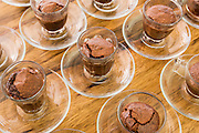 Chocolate souffle dessert baked in a cup