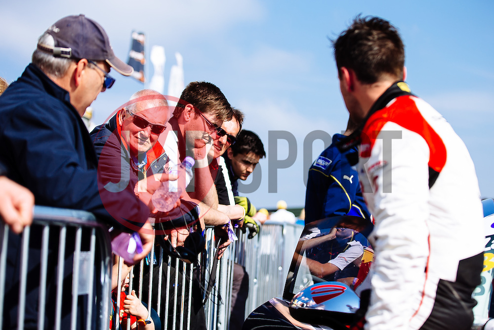 Bristol Sport Owner Steve Lansdown visits Dino Zamparelli  in parc ferme after the race | Bristol Sport Racing | #88 Porsche 911 GT3 Cup Car | Porsche Carrera Cup GB | Race 2 - Mandatory byline: Rogan Thomson/JMP - 07966 386802 - 23/08/2015 - MOTORSPORT - Knockhill Racing Circuit - Dunfermline, Scotland - BTCC Meeting Day 2.