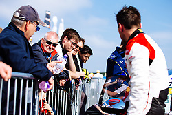 Bristol Sport Owner Steve Lansdown visits Dino Zamparelli  in parc ferme after the race | Bristol Sport Racing | #88 Porsche 911 GT3 Cup Car | Porsche Carrera Cup GB | Race 2 - Mandatory byline: Rogan Thomson/JMP - 07966 386802 - 23/08/2015 - MOTORSPORT - Knockhill Racing Circuit - Dunfermline, Scotland - BTCC Meeting Day 2.
