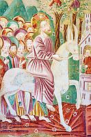 Croatie, Istrie, côte adriatique, Beram, chapelle et eglise Sainte Marie ou Sveti Marija, fresque, l'entrée de Jésus dans Jérusalem // Croatia, Adriatic coast, Istria, Beram, frescoes of the church of St Mary, Jesus entring in Jerusalem
