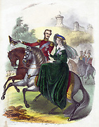 Queen Victoria (1819-1901) and Prince Albert riding in Windsor Park when young. Hand-coloured lithograph.