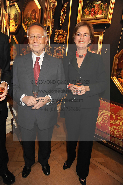 MR & MRS EFTHIMIOS MITROPOULOS Secretary-General International Maritime Organisation at an exhibition of Countess Flamburiari's paintings entitled  'Come to the Circus' held at Partridges Fine Art, Bond Street, London on 2nd December 2008.
