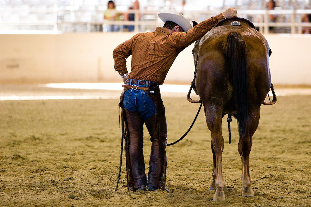 Chris Cox, professional horse trainer, demonstrates his techniques for a crowd in Los Angeles on September 15, 2007.