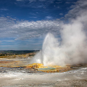 Clepsydra Geyser at Fountain Paint Pots in the Lower Geyser Basin of Yellowstone National Park erupts almost constantly -- every 45 seconds.