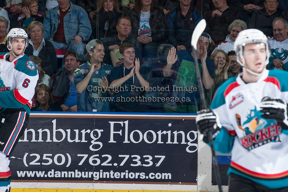 KELOWNA, CANADA - APRIL 5: Seattle Thunderbirds' fans celebrate a goal against the Kelowna Rockets on April 5, 2014 during Game 2 of the second round of WHL Playoffs at Prospera Place in Kelowna, British Columbia, Canada.   (Photo by Marissa Baecker/Getty Images)  *** Local Caption *** fans