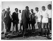 Men prepare for the annual Easter Tournament (1972)