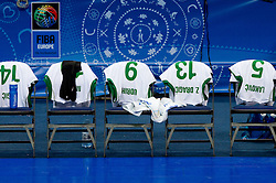 Jerseys of Slovenia during basketball game between National basketball teams of Slovenia and Greece at FIBA Europe Eurobasket Lithuania 2011, on September 8, 2011, in Siemens Arena,  Vilnius, Lithuania. Greece defeated Slovenia 69-60.  (Photo by Vid Ponikvar / Sportida)