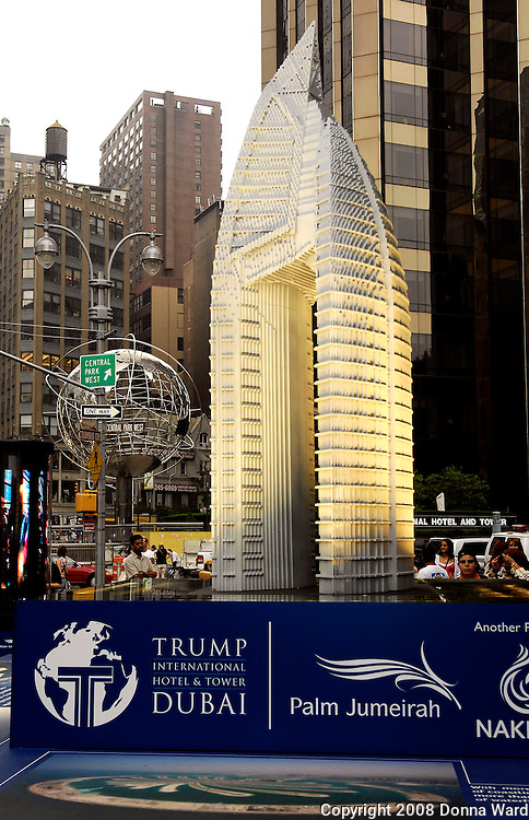 14-foot replica Lego Tower is on display to celebrate the Trump International Hotel & Tower Dubai at Columbus Circle in Central Park in New York City, USA on June 23, 2008.