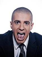 caucasian man businessman screaming portrait isolated studio on white background