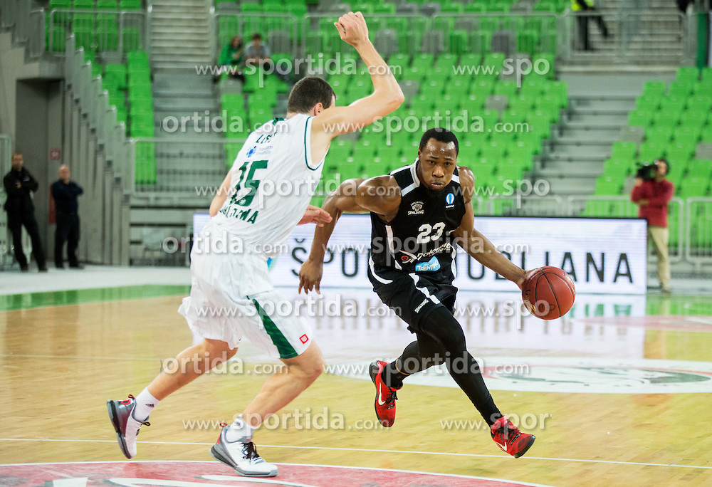 Sava Lesic #15 of KK Union Olimpija vs Dominique Sutton of Trento during basketball match between KK Union Olimpija Ljubljana and Dolomiti Energia Trento (ITA) in Round #1 of EuroCup 2015/16, on October 14, 2015 in Arena Stozice, Ljubljana, Slovenia. Photo by Vid Ponikvar / Sportida