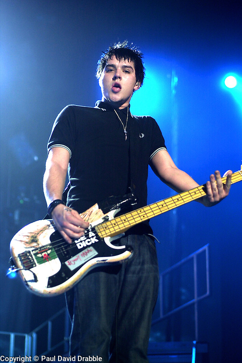 Busted play their biggest venue of their career to date at The Hallam FM Arena 2004 Matt Willis <br /> image copyright Paul David Drabble<br /> 7th March 2004