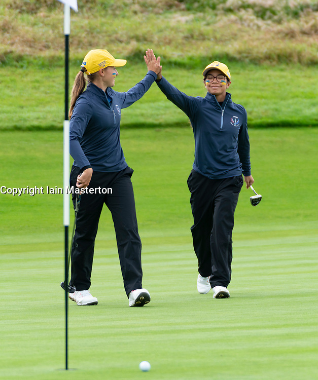 Auchterarder, Scotland, UK. 10 September 2019. Day one of the Junior Solheim Cup 2019 at the Centenary Course at Gleneagles. Tuesday Morning Foursomes. Pictured Lilas Pinthier (r) and Paula Schulz-Hanssen of Europe celebrate a putt to win hole. Iain Masterton/Alamy Live News