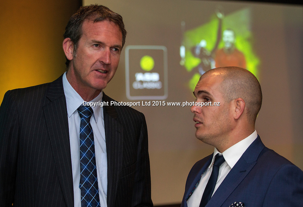 Mark Graham, Head of Community and Sponsorship, ASB, left, with Karl Budge, Tournament Director at the New ASB Classic Launch Party, SkyCity, Auckland, New Zealand, Wednesday, November 11, 2015. Copyright photo: David Rowland / www.photosport.nz