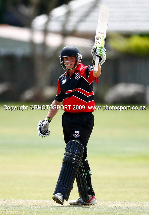 Canterbury batsman Thomas Latham celebrates 50 runs. U19 National Final, Canterbury v Auckland, Te Atatu Park, Auckland. Monday 21 December 2009. Photo: Simon Watts/PHOTOSPORT