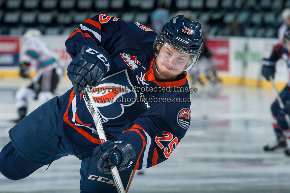 KELOWNA, CANADA - MARCH 25: Cameron Reagan #25 of Kamloops Blazers warms up against the Kelowna Rockets on March 25, 2016 at Prospera Place in Kelowna, British Columbia, Canada.  (Photo by Marissa Baecker/Shoot the Breeze)  *** Local Caption *** Cameron Reagan;
