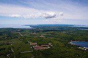 Aerial view of the Door County peninsula, Wisconsin; the community of Gills Rock is in the lower right.