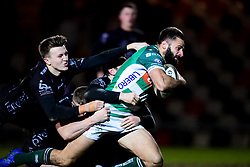 Guinness PRO14, Rodney Parade, Newport, UK 06/03/2020<br /> Dragons vs Benetton Rugby<br /> Angelo Esposito of Benetton Rugby is challenged by Adam Warren, Jack Dixon and Jared Rosser of Dragons as he  scores a try<br /> Mandatory Credit ©INPHO/Ryan Hiscott