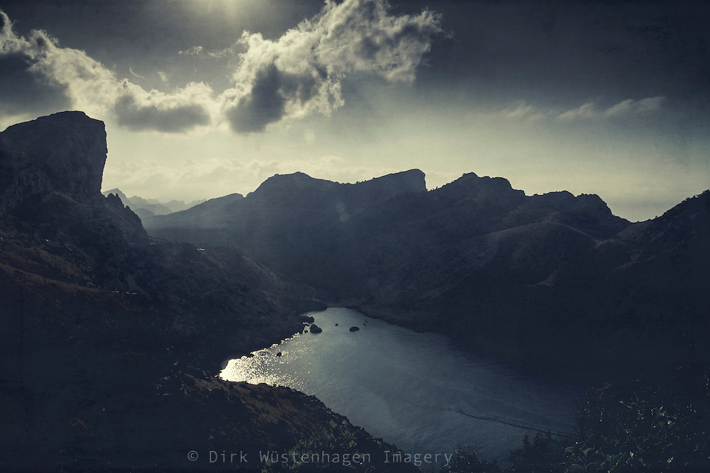 Cap Formentor on the island of Mallorca captured in backlight - texturized photograph
