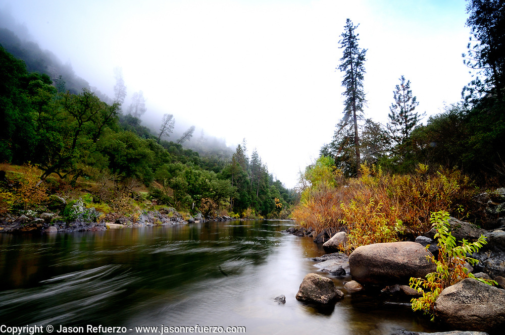 Fog moving in above the Merced River