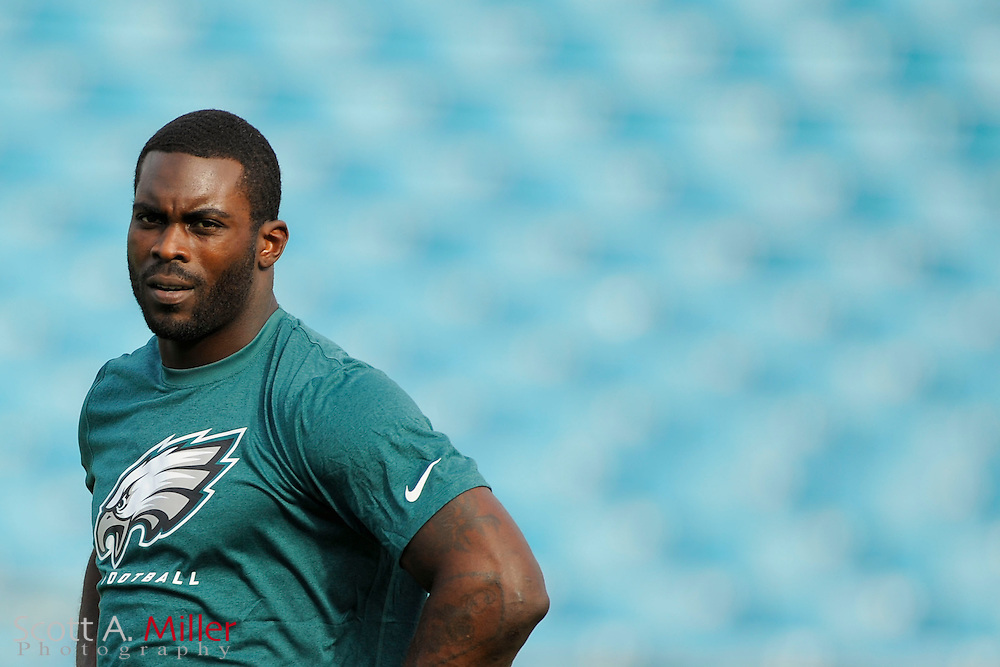Philadelphia Eagles quarterback Michael Vick (7) in warm up clothes and no helmet prior to a preseason NFL game against the Jacksonville Jaguars at EverBank Field on Aug. 24, 2013 in Jacksonville, Florida. The Eagles won 31-24.<br /> <br /> &copy;2013 Scott A. Miller
