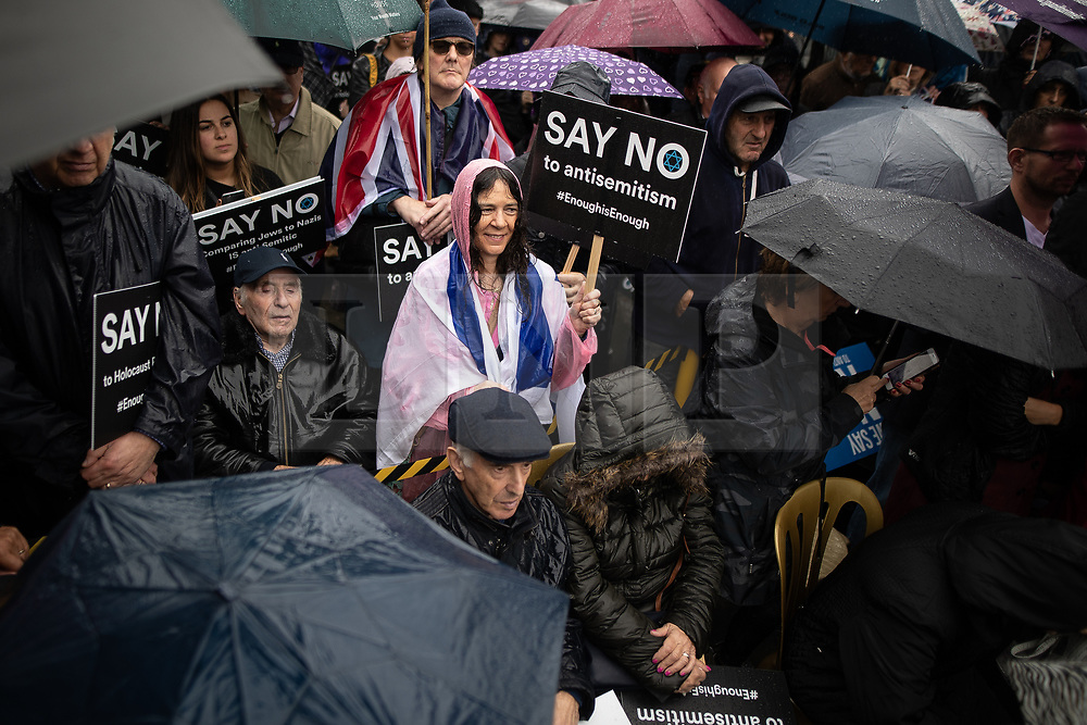 © Licensed to London News Pictures . 16/09/2018. Manchester, UK. Thousands of people including the UK's Chief Rabbi and several Members of Parliament attend a demonstration against rising anti-Semitism in British politics and society , at Cathedral Gardens in Manchester City Centre . Photo credit : Joel Goodman/LNP