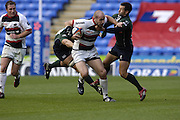 Reading, GREAT BRITAIN, Saracen's, Paul GUSTARD tackled by Gonzalo TIESI No.13 and Barry EVERITT, during the EDF Energy Cup, rugby match, London Irish vs Saracens at the Madejski  Stadium, ENGLAND, 30/09/2006. [Photo, Peter Spurrier/Intersport-images].