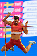Jorge Urena (Spain), Men's Pentathlon, Pole Vault, during the European Athletics Indoor Championships at Emirates Arena, Glasgow, United Kingdom on 3 March 2019.