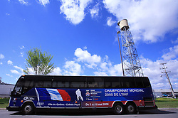 Bus of French National Team  at Colisee Pepsi before ice-hockey game Canada vs Russia at finals of IIHF WC 2008 in Quebec City,  on May 18, 2008, Quebec City, Quebec, Canada.  (Photo by Vid Ponikvar / Sportal Images)