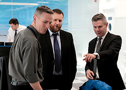 Derek Mackay visit, Wednesday, 18th December 2019<br /> <br /> Economy Secretary Derek Mackay today visited Emtec Group in Ratho Station to officially open their new office and comment on the latest GDP statistics.<br /> <br /> Pictured: Scottish Government Economy Secretary Derek Mackay meets some of the employees<br /> <br /> Alex Todd | Edinburgh Elite media