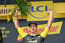 July 14, 2018 - Amiens Metropole, FRANCE - Dutch Dylan Groenewegen of LottoNL-Jumbo celebrates on the podium after winning the eighth stage of the 105th edition of the Tour de France cycling race, from Dreux to Amiens Metropole (181 km), in France, Saturday 14 July 2018. This year's Tour de France takes place from July 7th to July 29th...BELGA PHOTO DAVID STOCKMAN (Credit Image: © David Stockman/Belga via ZUMA Press)