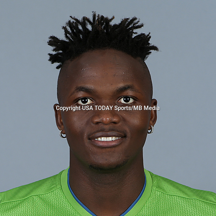 Feb 25, 2016; USA; Seattle Sounders FC player Victor Mansaray poses for a photo. Mandatory Credit: Corky Trewin-USA TODAY Sports