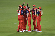 Kathryn Cross and Lancashire Thunder celebrate the wicket of Thea Brookes during the Women's Cricket Super League match between Southern Vipers and Lancashire Thunder at the 1st Central County Ground, Hove, United Kingdom on 15 August 2019.