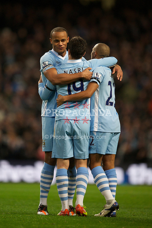 MANCHESTER, ENGLAND - Saturday, December 3, 2011: Manchester City's Samir Nasri celebrates scoring the second goal against Norwich City during the Premiership match at City of Manchester Stadium. (Pic by David Rawcliffe/Propaganda)