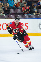 PENTICTON, CANADA - SEPTEMBER 17: Dillon Dube #59 of Calgary Flames skates with the puck against the Edmonton Oilers on September 17, 2016 at the South Okanagan Event Centre in Penticton, British Columbia, Canada.  (Photo by Marissa Baecker/Shoot the Breeze)  *** Local Caption *** Dillon Dube;