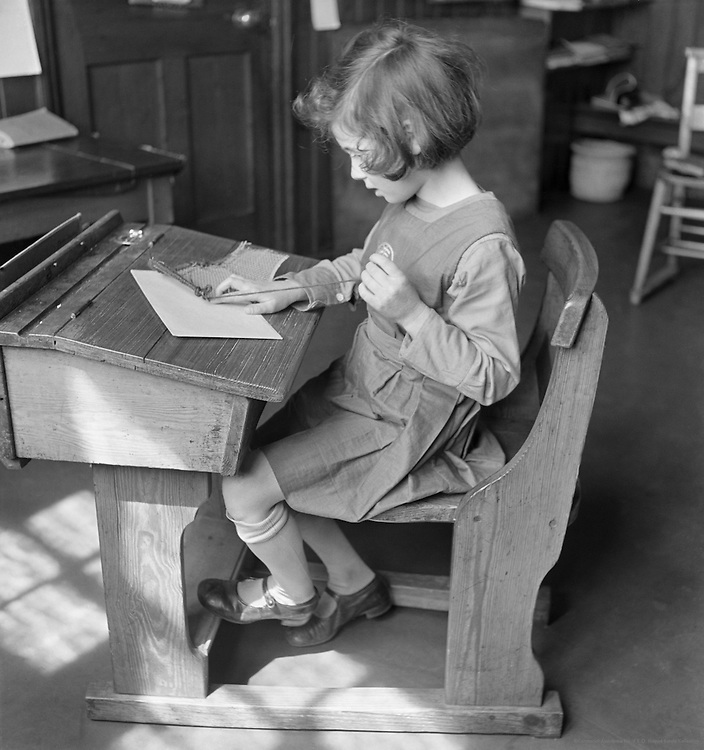 Left-handed child, Froebel Institute, England, 1930