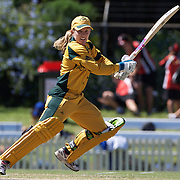 Jodie Fields batting during the match between Australia and Pakistan in the Super 6 stage of the ICC Women's World Cup Cricket tournament at Bankstown Oval, Sydney, Australia on March 16 2009, Australia won the match by 107 runs. Photo Tim Clayton