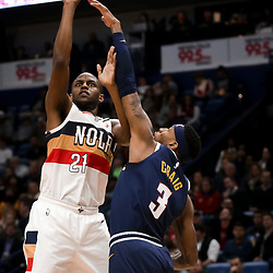 Jan 30, 2019; New Orleans, LA, USA; New Orleans Pelicans forward Darius Miller (21) shoots over Denver Nuggets forward Torrey Craig (3) during the second half at the Smoothie King Center. Mandatory Credit: Derick E. Hingle-USA TODAY Sports