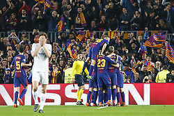 March 14, 2018 - Barcelona, Catalonia, Spain - FC Barcelona forward Ousmane Dembele (11) with his teammates of FC Barcelona celebrates after scoring the goal during UEFA Champions League match between FC Barcelona and Chelsea FC at Camp Nou Stadium corresponding of Round of 16, Second leg on March 14, 2018 in Barcelona, Spain. (Credit Image: © Urbanandsport/NurPhoto via ZUMA Press)