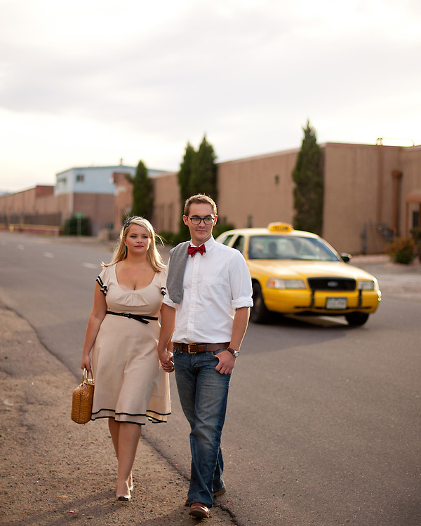 Elynor May and Dermot Monks pose for a portrait to celebrate their engagement in downtown Denver, Sunday, Sept. 12, 2010. Photo by Justin Edmonds