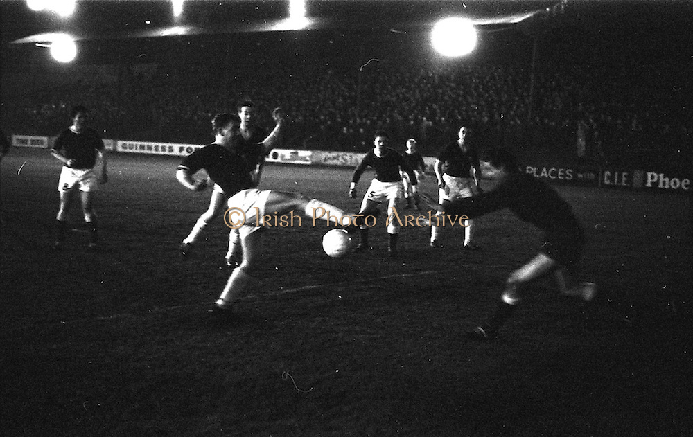 10/03/1965<br /> 03/10/1965<br /> 10 March 1965<br /> F.A.I. Cup replay (2rd round): Cork Celtic v Belgrove  at Tolka Park, Dublin. Celtic won the game 1-0. Bright moment for Cork Celtic as Casey gets the ball and lobs it into Belgrove's net past keeper J. Lundy.