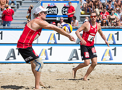 30.07.2014, Strandbad, Klagenfurt, AUT, FIVT, A1 Beachvolleyball Grand Slam 2014, Hauptrunde, im Bild Jörg Wutzl (AUT), Daniel Müllner (AUT) // during Main Draw Match of the A1 Beachvolleyball Grand Slam at the Strandbad Klagenfurt, Austria on 2014/07/30. EXPA Pictures © 2014, EXPA Pictures © 2014, PhotoCredit: EXPA/ Johann Groder