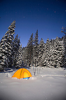 Snow camping along in winter. South Lake Tahoe, CA