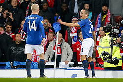 Leon Osman of Everton celebrates against the corner flag after scoring a goal to make it 1-0 - Photo mandatory by-line: Rogan Thomson/JMP - 07966 386802 - 06/11/2014 - SPORT - FOOTBALL - Goodison Park, Liverpool - Everton v LOSC Lille Metropole - UEFA Europa League Group H.