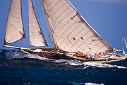 Kate sailing in the 2010 Antigua Classic Yacht Regatta, Windward Race, day 4.